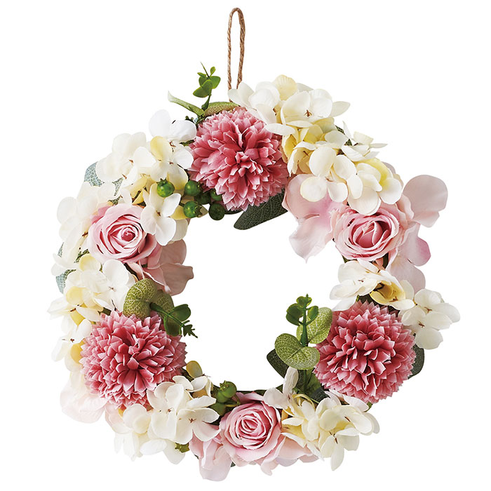 送料無料 造花 リース アレンジ 店舗ディスプレイ エレガントローズリース ピンク 1個エレガントで華やかな印象のリースは、ワンランク上の演出ができます。造花 リース アレンジ 店舗ディスプレイ