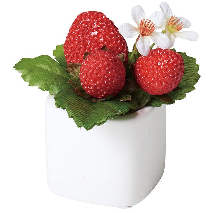 送料無料 造花 全国一律送料無料 苺 アレンジ 店舗ディスプレイ 1個かわいいイチゴのポットは心を和ませます レジ横など お店のワンポイント装飾にお役立てください ストロベリーキューブポット 至上