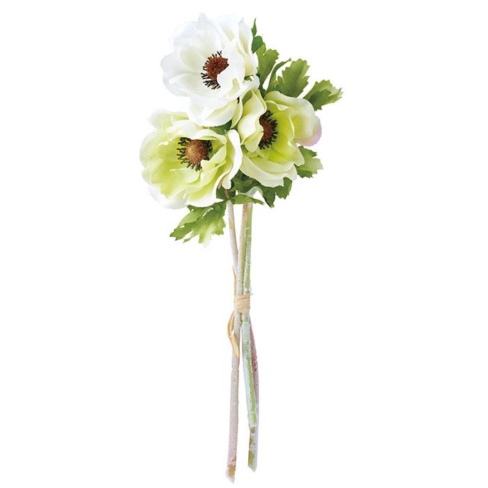 送料無料 造花 アレンジ 店舗ディスプレイ アネモネバンドル グリーン×ホワイト 12束セットカラフルなディスプレイに使えます。造花 アレンジ 店舗ディスプレイ