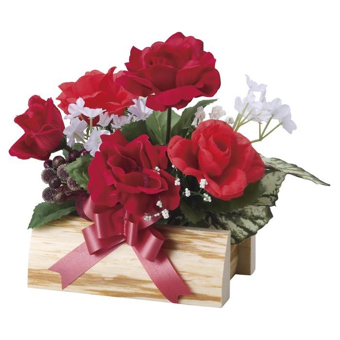 送料無料 バレンタイン 造花 装飾 1個バレンタイン 現品 ☆新作入荷☆新品 ローズウッドアレンジ