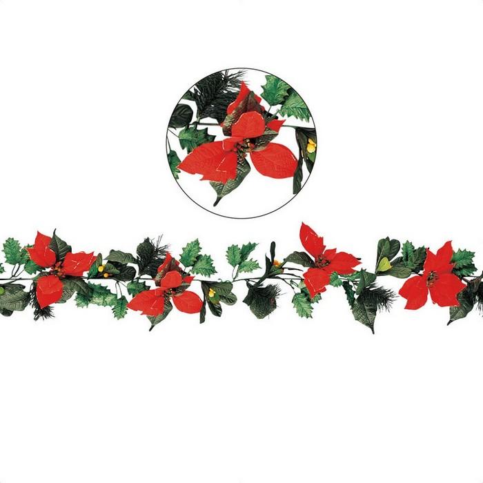 クリスマスの定番 ポインセチアのガーランド 巻いたり這わせたり アレンジも自在 クリスマス 飾り 1本クリスマス レッド クリスマス雑貨 新品 送料無料 ポインセチアヒイラギガーランド 壁 直送商品