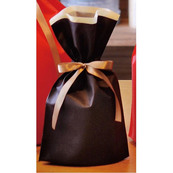従来の不織布巾着に比べ安価で、色の発色も良い商品です。クリスマス  不織布リボン付ギフトバッグMブラウン 10枚 24×36(24)×底マチ12cmクリスマス ラッピング 袋