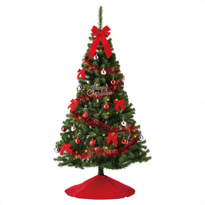 至高 大きなリボンとスカートが付いてお得なプライス 華やかなレッドとゴールドの2色から選べます クリスマスツリー ブランド激安セール会場 クリスマス おしゃれ オーナメント 北欧 LED 1セット 送料無料 H180×W101cm 180cm 飾り バリューツリーセット レッド