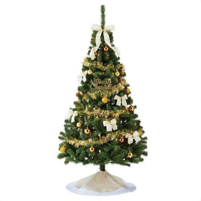 大きなリボンとスカートが付いてお得なプライス。華やかなレッドとゴールドの2色から選べます。クリスマスツリー  クリスマスツリー クリスマス おしゃれ オーナメント 北欧 LED 180cm 飾り 送料無料 バリューツリーセット ゴールド H180×W101cm 1セット