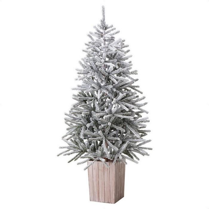 雪をまと っ たツリーと木製ポットがナチ ュ ラルでハイグレードな雰囲気。クリスマスツリー 150cm  クリスマスツリー クリスマス 150cm 送料無料 スノーポットツリー H150×W90cm 1本