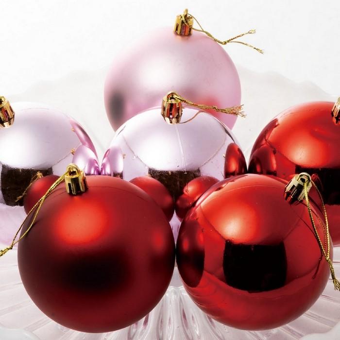選ぶのも楽しい多彩なカラーと質感のボールが勢揃い 店舗 全国どこでも送料無料 クリスマス 飾り クリスマスツリー 6個クリスマス グラデーションボール レッドピンク オーナメント
