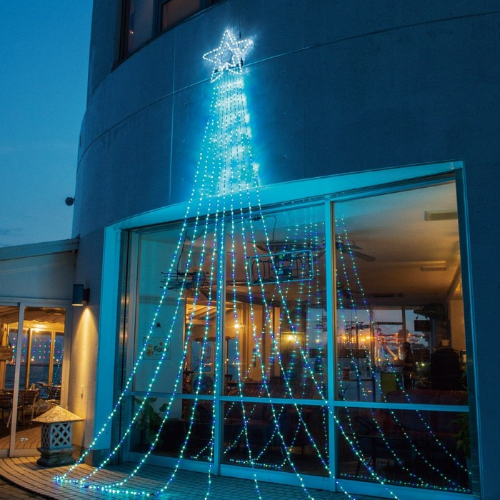 LED990球ドレープライト アイスブルー 1セット【クリスマス LEDライト】
