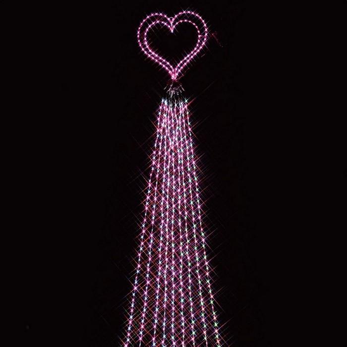 LED988球ドレープライトホワイト/ピンクハート 1コ【クリスマス LEDライト】