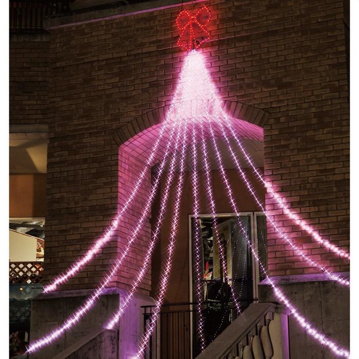 LED988球ドレープライト ピンク リボン 1セット【クリスマス LEDライト】