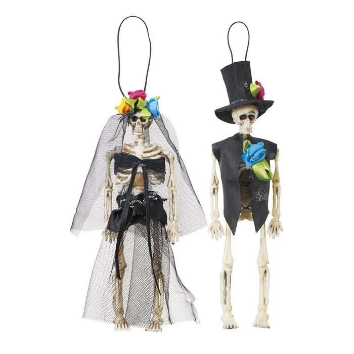 送料無料 ハロウィン スケルトン 飾り ガイコツ スカル 骸骨 ミニスケルトンセット ハロウィンツリーの飾りや壁飾りにもおすすめです ホラー ブラック 1セット約15cmのガイコツ2体セットで結婚式風オーナメントです 爆売りセール開催中 2020春夏新作 ハンギング