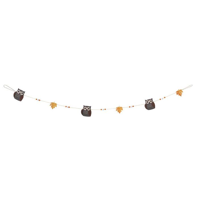 送料無料 秋 飾り 装飾 ガーランド 大放出セール ディスプレイ デコレーション 吊るすだけで 1本秋のかわいいモチーフたちのガーランドです ミニフェルトガーランド 120cm 簡単にお店を秋の雰囲気に メーカー公式ショップ フクロウ パーティ