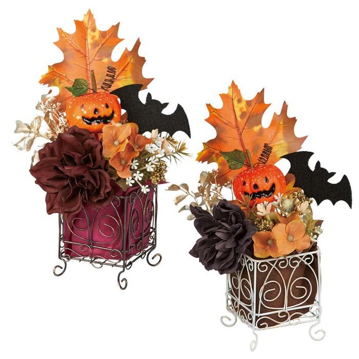 送料無料 ハロウィン 装飾 飾り 雑貨 オブジェ インテリア ディスプレイ ハロウィンキューブポット 2個セットスチール製のフレームの中に造花アレンジとかぼちゃ飾りの入ったキューブポット。テーブルや陳列棚に置くだけで簡単にハロウィン装飾になります。ハロウィン 装飾 飾り 雑貨 オブジェ インテリア ディスプレイ