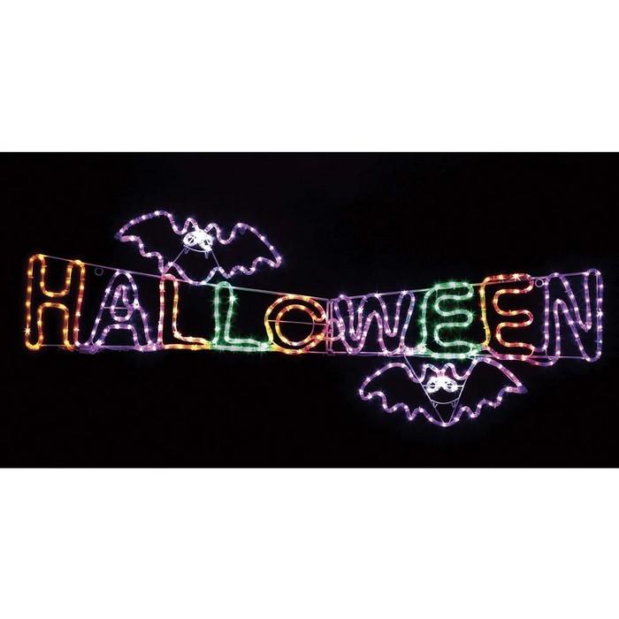 送料無料 ハロウィン 装飾 バースデー 記念日 ギフト 贈物 お勧め 通販 飾り 雑貨 オブジェ ディスプレイ LED ライト 1台 推奨 HALLOWEEN 一際大きなハロウィンの文字が目立ちます 点灯パターンは3種類 ハロウィンタイトル LEDチューブライト の文字とコクモリがついたチューブライト イルミネーション
