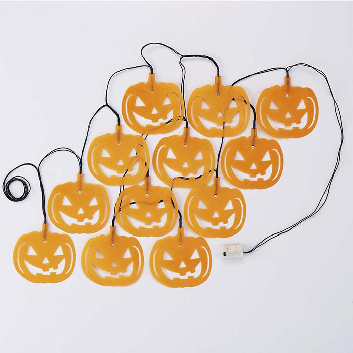 送料無料 ハロウィン 装飾 飾り 雑貨 オブジェ ディスプレイ LED ライト イルミネーション 【光る】LEDフロッキングガーランドライト パンプキン 150cm 1本ハロウィンモチーフの光るガーランドです。壁に吊ったり、簡単にハロウィン装飾が完成!ハロウィン 装飾 飾り 雑貨 オブジェ ディスプレイ LED ライト イルミネーション