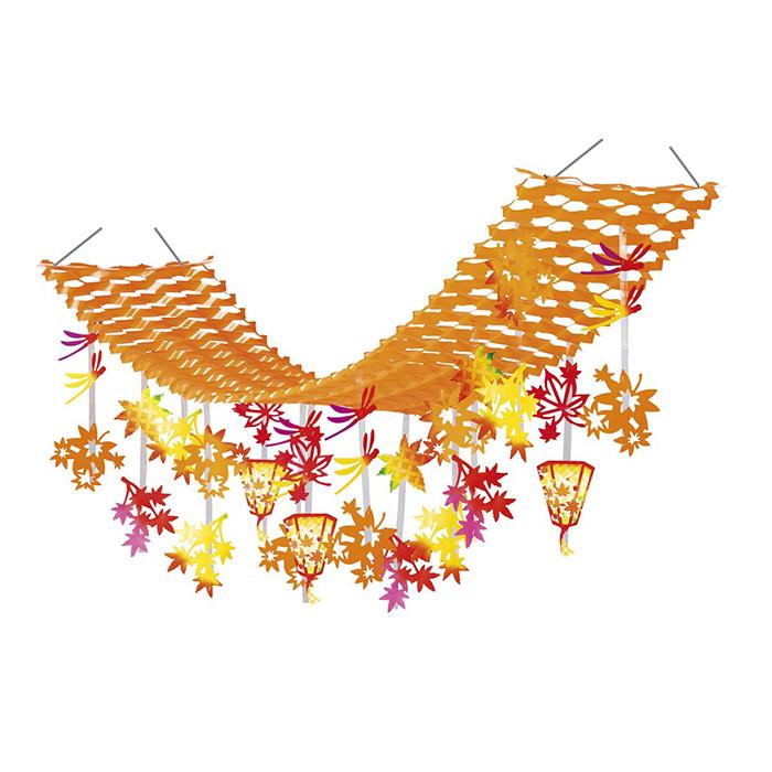 送料無料 秋 プリーツハンガー 飾り 買い物 装飾 超特価 吊り下げ 秋色とんぼと紅葉ぼんぼりプリーツハンガー 天井から吊って 1枚店舗装飾に人気の秋のプリーツハンガーです 紅葉 シーズンが終わると折りたたんでコンパクトにしまっておけます 手軽に秋色空間の完成