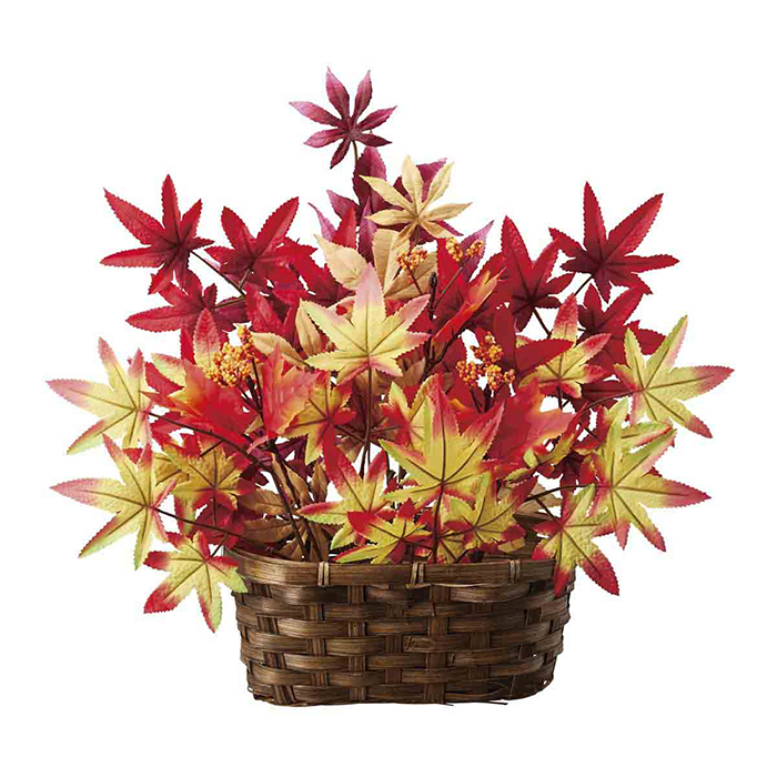 送料無料 秋 飾り 装飾 造花 ガーランド 紅葉 いろは紅葉バスケット 1個紅葉の秋色アレンジメントです。インテリアやディスプレイ、店内装飾におすすめです。秋 飾り 装飾 造花 ガーランド 紅葉