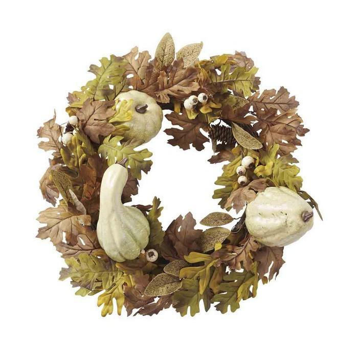 送料無料 秋 リース 造花 玄関 30cm以上 フラワー オータムリース ホワイト 1個かぼちゃや松ぼっくりの飾りのついた落ち着いた色合いのリースは秋の店舗装飾にぴったり。ひも付きなので簡単に壁に吊るして飾ることができます。テーブルや陳列棚に置いて立てかけても。秋 リース 造花 玄関 30cm以上 フラワー