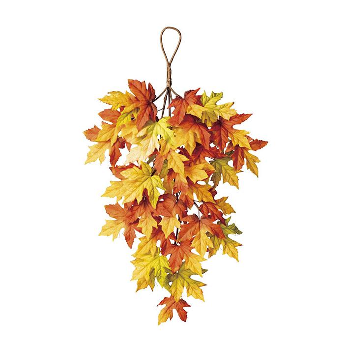 送料無料 秋 造花 スワッグ フラワー ガーランド 玄関 メイプルスワッグ 長さ60cm 1個吊るだけ簡単!メイプルの葉をふんだんに使った秋色スワッグで、おしゃれに店内を演出!壁に吊るして簡単に飾れます。インテリアやディスプレイにもおすすめです。秋 造花 スワッグ フラワー ガーランド 玄関