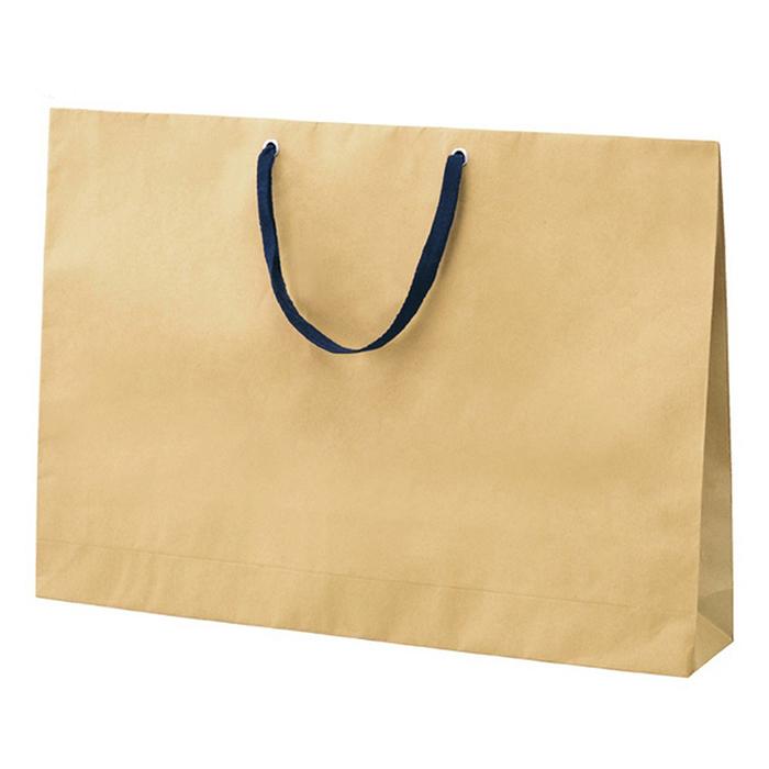 送料無料 紙袋 袋 おしゃれ お見舞い 業務用 手提げ クラフト 送料無料/新品 ベージュ 50枚お手頃な価格と使いやすいカラーが 60×42cm 木の色に近い漂白されていないクラフト紙を使用 ショルダー型手提げ袋 紺紐 大好評のショルダーバッグです