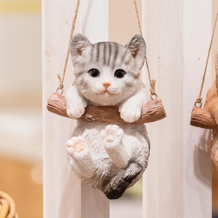送料無料 インテリア オブジェ 雑貨 おしゃれ かわいい ディスプレイ 猫 ハンギングキャットオーナメント アメショ 1個かわいい動物たちがお客様をお出迎え!インテリア オブジェ 雑貨 おしゃれ かわいい ディスプレイ 猫