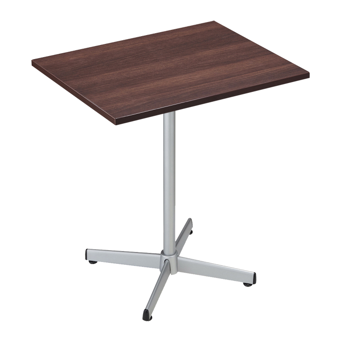 送料無料 カフェ テーブル 木製 おしゃれ テラス 爆売りセール開催中 カフェテーブル メラミンタイプ ストア シルバー脚 1台ここでしか買えない 天板と支柱を固定して脚に差し込むだけ エキスプレスオリジナル商品 好評 組み立て簡単 ブラウン