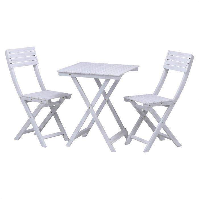 送料無料 ガーデンテーブルセット 鋳物 アイアン 屋外 テラス バルコニー 庭 ガーデンテーブルチェアー3点セット ホワイトテーブル1台、チェア2台の3点セット。完成品で組み立て不要、折りたたみできます。ガーデンテーブルセット 屋外 テラス バルコニー 庭