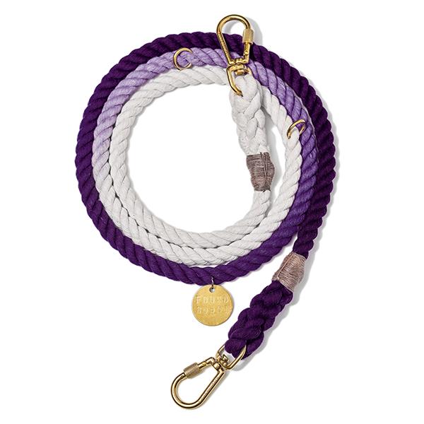 【FOUND MY ANIMAL ファウンドマイアニマル】Cotton Rope Dog Leash Adjustable アジャスタブルリード Purple Ombre/パープルグラデーション■ネコポス送料無料■