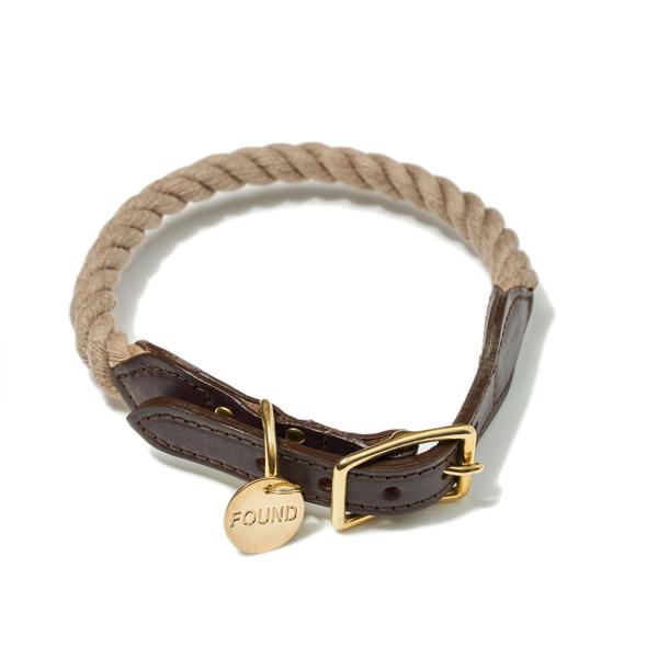 【FOUND MY ANIMAL ファウンドマイアニマル】Recycle Rope Cat & Dog Collar ロープ&レザー Dark Tan(Natural)/ダークタン(ナチュラル) ■ネコポス■:The TENT 代官山
