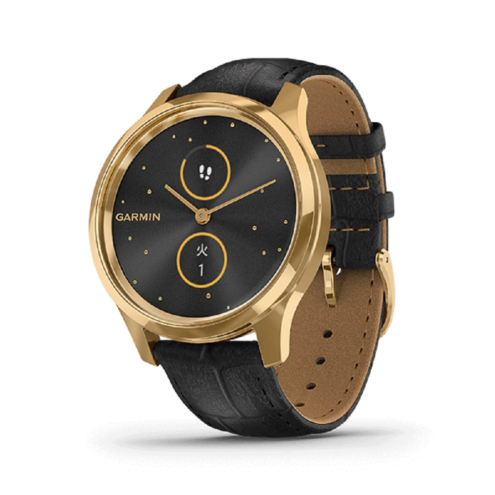 【正規品・ラッピング無料・1年保証付】腕時計,人気商品,2~6営業日発送 店内ポイント最大44倍!クーポンGET!要エントリー1/16まで GARMIN ガーミン vivomove Luxe ヴィヴォムーブラグゼ Black Embossed Leather/24K Gold PVD 010-02241-72 【安心のメーカー1年保証】スマートウォッチ ウェアラブル 心拍数