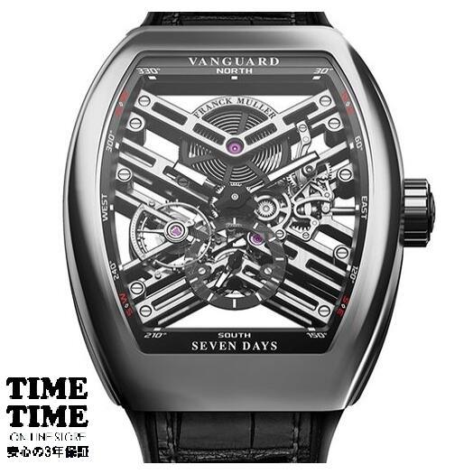 [フランクミュラー]新品・純正BOX付 FRANCK MULLER 腕時計 ヴァンガードスケルトン7デイズパワーリザーブ ホワイトゴールド/ブラッククロコストラップ 自動巻 V 45 S6 SQT メンズ 【並行輸入品・3年保証】