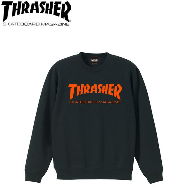 【THRASHER】MAG CREW SWEAT(BLACK/ORANGE)(スラッシャー クルースエット トレーナー ブラックオレンジ)18h/