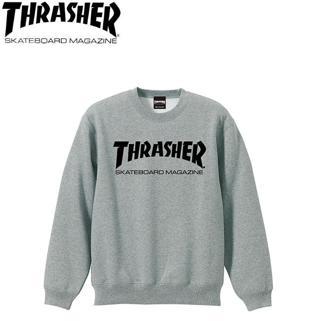 【THRASHER】MAG CREW SWEAT(HEATHRGRAY/BLACK)(スラッシャー クルースエット トレーナー グレーブラック)18h/