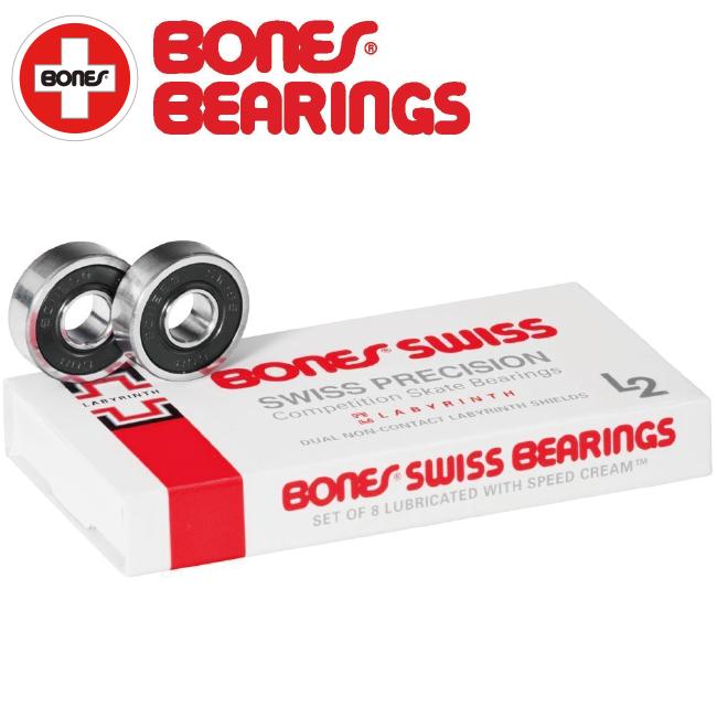 【BONES】SWISS L2 SKATEBOARD BEARINGS (8 PACK)(ボーンズ スイスラビリンス2 スケートボード ベアリング 1セット/8個入り)/