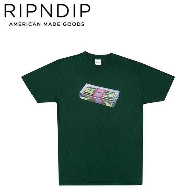 【RIPNDIP】FAT STACK S/S TEE(HUNTER GREEN)(リップンディップ 半袖 Tシャツ ハンターグリーン)19m/