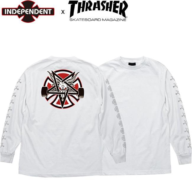 【INDEPENDENT x THRASHER】PENTAGRAM CROSS L/S TEE(WHITE)(インディペンデント スラッシャー 長袖 ロングスリーブTシャツ ロンT ホワイト)19f/