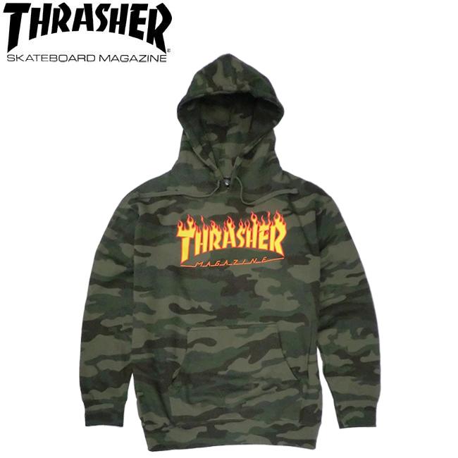【THRASHER】FLAME PULLOVER HOODSWEAT(F.CAMO)(スラッシャー パーカー プルオーバー フードスウェット カモ)20s/
