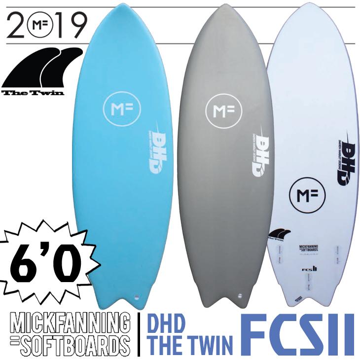 2019年モデル DHD THE TWIN FCS2 3FIN【MF SOFTBOARD×MICK FANNING(ミックファニング ソフトボード)】サーフボード タワイン 6'0×20 3/4×2 1/2 日本正規品 品番:F19-MF-TWI-600