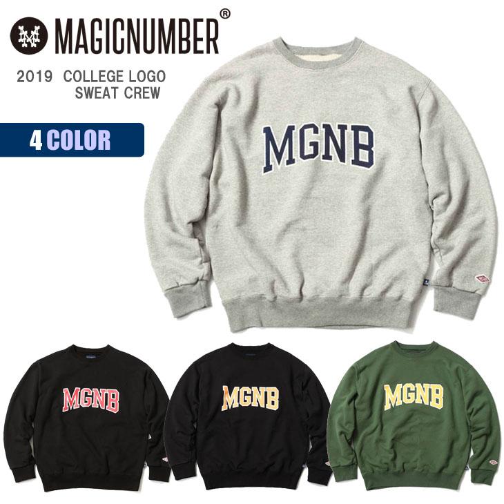 19 MAGIC NUMBER マジックナンバー トレーナー COLLEGE LOGO SWEAT CREW スウェット スエット クルーネック ヘビーウェイト カレッジ風 メンズ ユニセックス 2019年秋冬 品番 19FW-MN-1005 日本正規品
