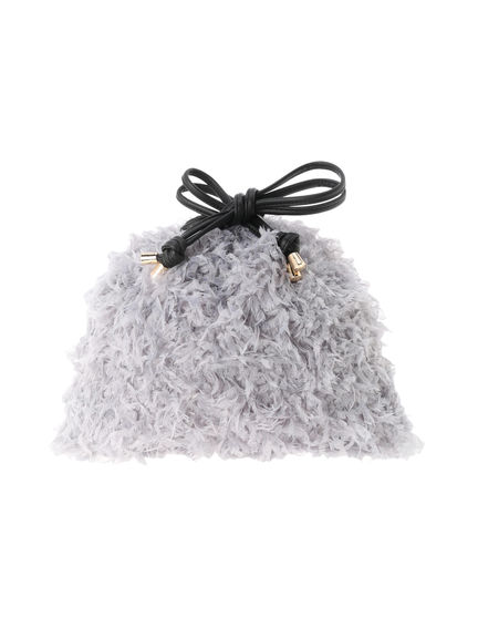 【全アイテム送料無料】【koe】フェザー巾着バッグ | レディース 秋冬 冬 | コエ グレー ベージュ