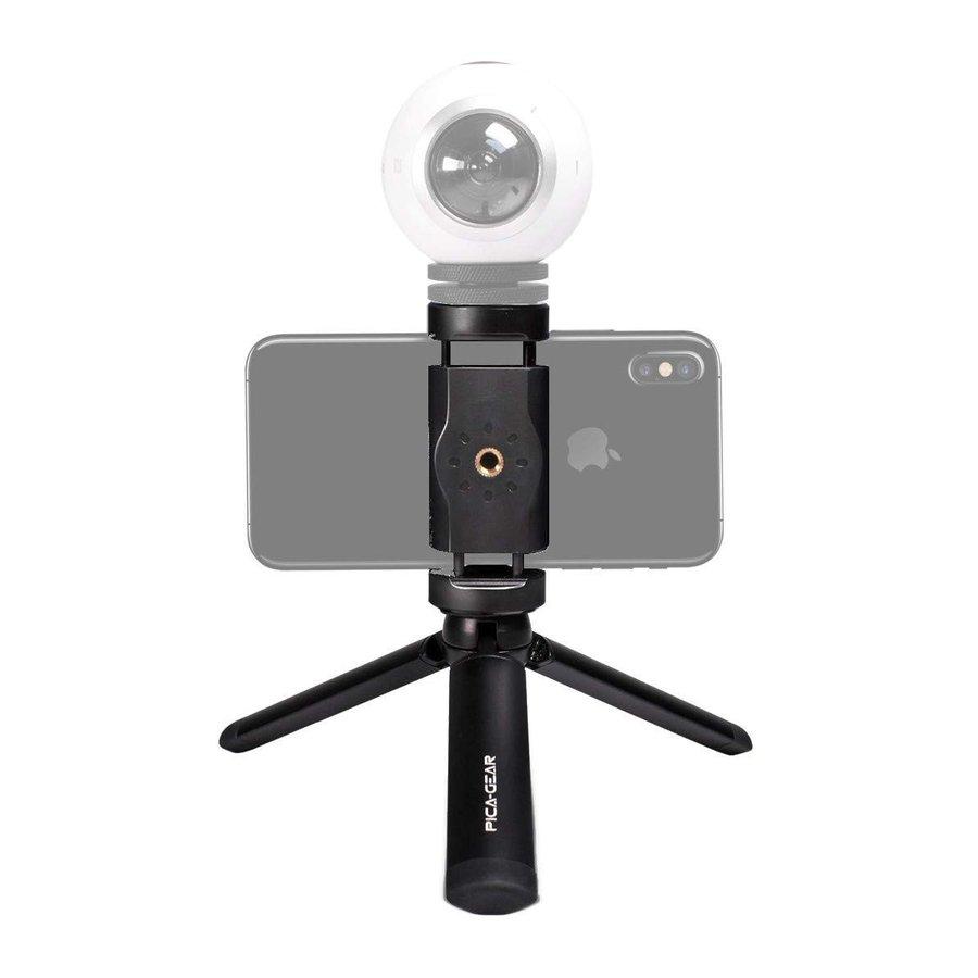【高品質なアルマイト仕上げの高級ミニ三脚】ピカギア(Pica-Gear) SNAP-GRIP マイク・照明搭載可 2Way Gopro iPhone対応 スナップグリップPG-040 スマホ 一眼レフ デジカメにも