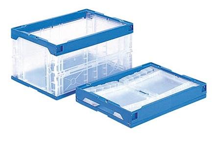 箱 物入れ プラスチック 収納 日本産 ケース 保管 配送容器 オリコン40B 折りたたみ収納ケース ≪外寸:530x366x272mm≫ 透明 折りたたみ収納ボックス チープ