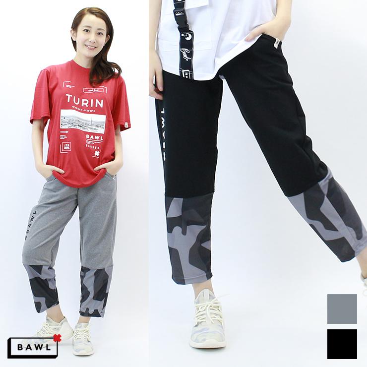 【BAW-U013350】 BAWL ボウル ユニセックス カモ 切り替え パンツ BLACK GRAY XSサイズ Sサイズ
