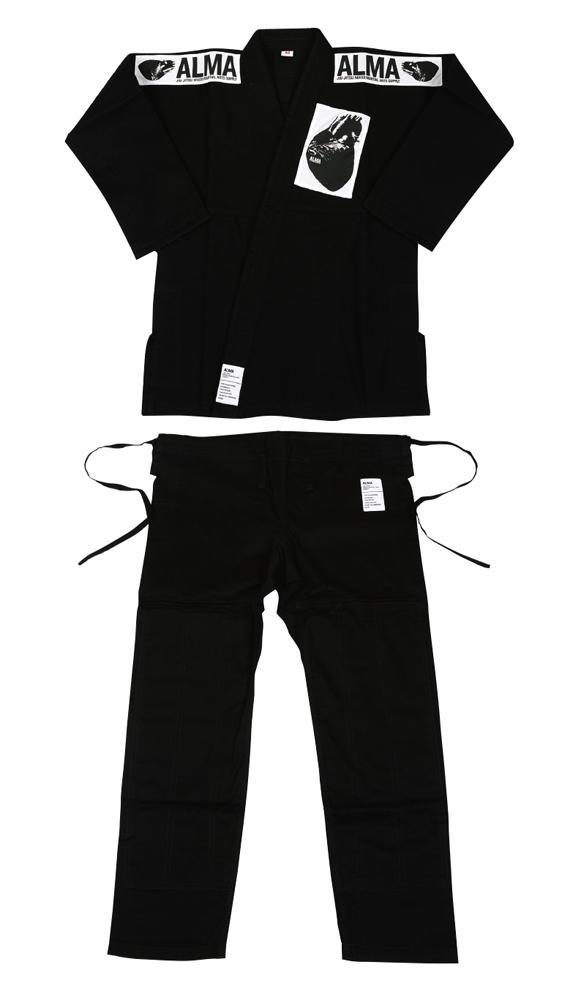 ALMA 海外製柔術着(白帯付き) A0号-A2号 黒 格闘技 用品 strongsports