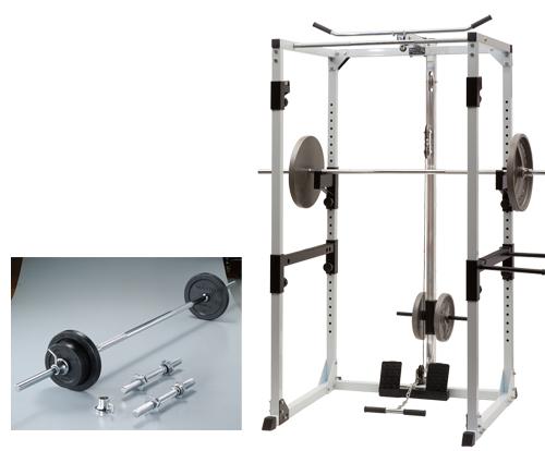 ラバーバーベルダンベルセット36kg+プロパワーラックシステム【マーシャルワールド製 格闘技 空手 筋トレ 器具 フィットネス】【strongsports】