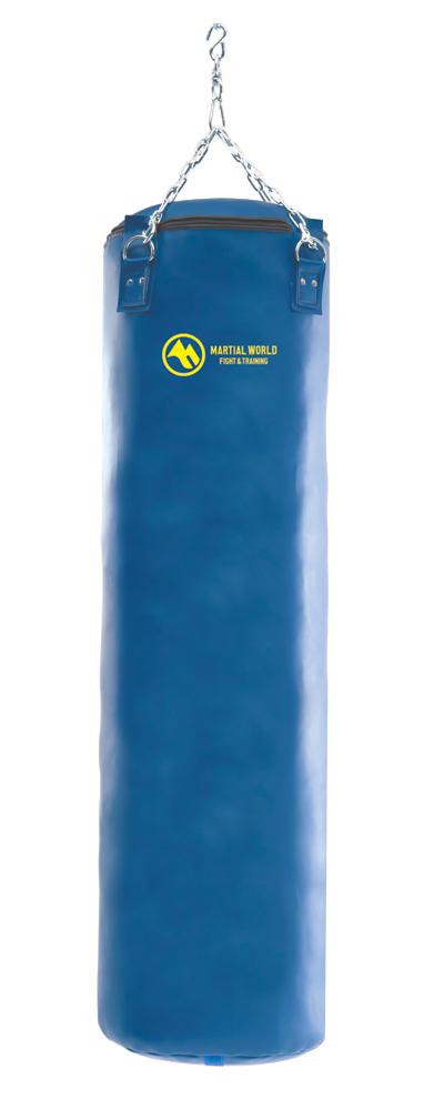 レザートレーニングバッグ 青 140cm マーシャルワールド製 格闘技 用品 空手 器具 strongsports