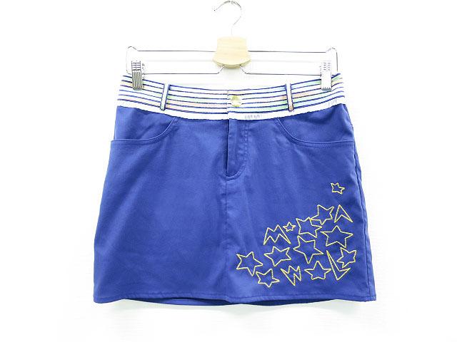 MARK&LONA マークアンドロナ 18SS ストレッチスカート スター柄刺繍 ブルー系 S 【中古】ゴルフウェア レディース