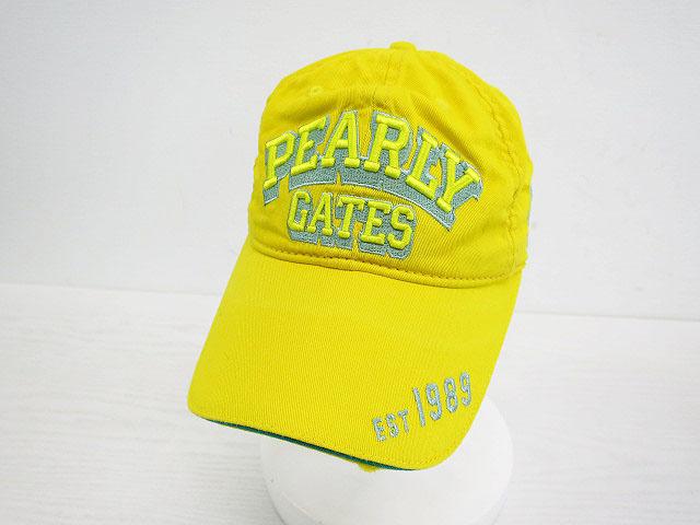 3 980円 税込み 以上で送料無料 PEARLY GATES パーリーゲイツ 中古 メンズ ゴルフウェア 2020新作 キャップ S 市販 イエロー系