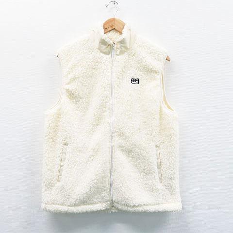 23区GOLF ニジュウサンクゴルフ ボアジップベスト ホワイト系 L 【中古】ゴルフウェア メンズ