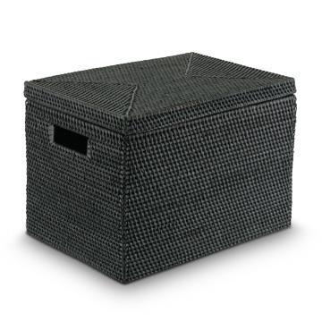 オンラインショッピング 実用性 デザイン性に優れた籐細工の収納籠 贈答 COTAN 黒 ラタン収納籠