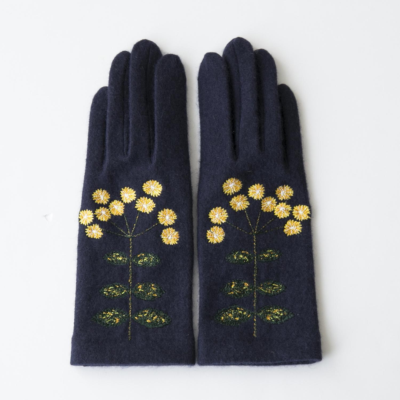 当店限定 男女兼用 コートの袖から咲くkogikuの手袋 日本正規代理店品 手袋 イエロー×ネイビー kogiku